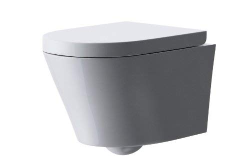 Durovin Bathrooms Ceramic Wall Hung Toilet - D Shape | Include WC Pan with Soft Close Seat - Quick Release | 360 x 520 x 390mm (WxDxH)