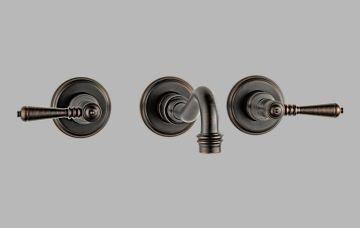 Brizo 65836LF-RB Tresa Bathroom Faucet Double Handle Wall Mount with Metal Lever Handles, Venetian Bronze (0.5 Inch Adjustable Sink Strainer)