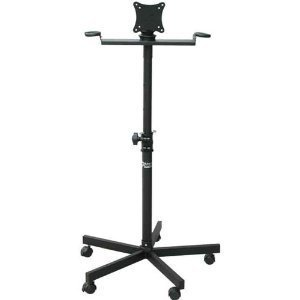 Flat Panel Monitor Holder - Audio2000s Ast-420x Flat Panel Tv/monitor Stand with Metal Mic Holders & Wheel Base by Audio2000s
