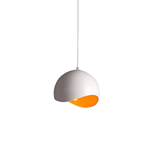 (Wapipey Adjustable Orange and White Hemisphere Wrought Iron Pendant Lamp Nordic Creative Simple Kitchen Dining Room Chandelier Living Room Bedroom Western Cafe Restaurant Droplight E27)