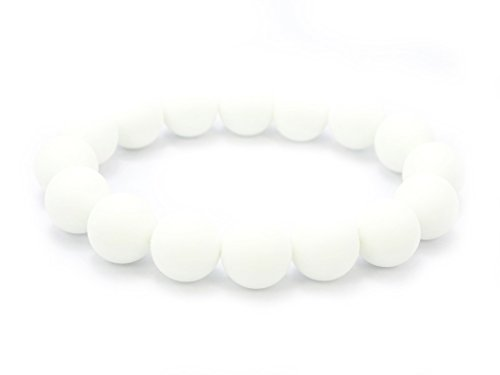 (jennysun2010 Handmade Natural Matte Frosted White Alabaster Gemstone Round Beads 12mm Stretchy Bracelet Healing 7.5'' Inches Wrist (16pcs Beads in The Bracelet))