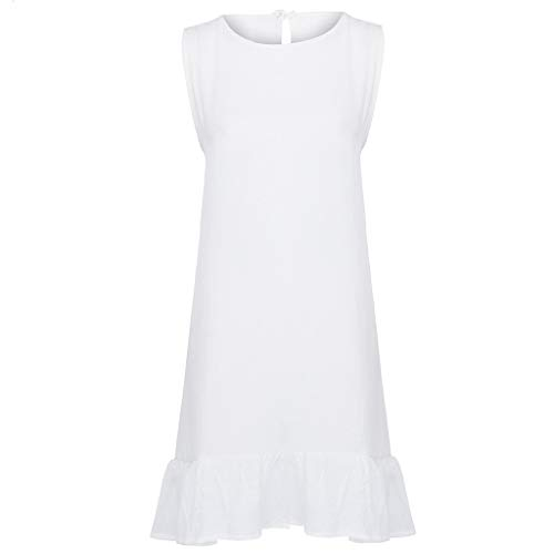 Summer Dresses for Women Casual O-Neck Ladies Solid Color Buttons Casual Mini Dress(White,M) by yijiamaoyiyouxia Dress (Image #4)