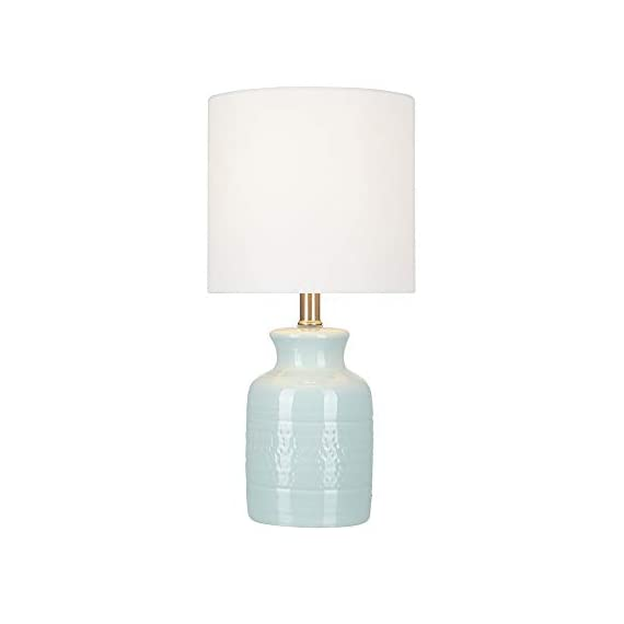 """Amazon Brand – Stone & Beam Textured Ceramic Table Lamp, Bulb Included, 16.75""""H, Blue - The base of this lovely lamp has a shape reminiscent of an old-fashioned milk can, but the reactive tonal-blue glaze is decidedly modern, creating a subtle pattern that will be slightly different on every lamp. The off-white linen drum shade diffuses light for a soft glow. 8.5""""W x 8.5""""D x 16.75""""H Textured ceramic table lamp with a tonal blue reactive glaze; brushed-nickel accents; off-white linen drum shade - lamps, bedroom-decor, bedroom - 21gi5RyagPL. SS570  -"""