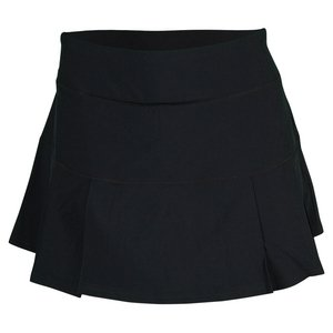Prince Women's Stretch Woven Pleated Tennis Skort, Black, Small