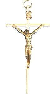 Wall Hanging Gilt Gold Coloured Metal 4 1//2 Crucifix Cross BW5201