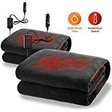 Zone Tech Car Heated Travel Blanket - Fireproof New and Improved 2019 Version 2 Pack Classic Black Premium Quality 12V Automotive Comfortable Heating Car Seat Blanket Great for Long Trips and Camping