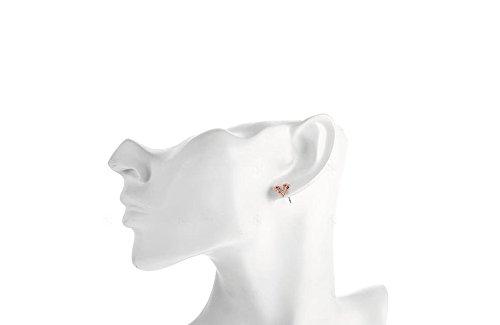 Boucles d'Oreilles Plaqué Or Rose 18K avec des Cristaux Autrichiens AAA+ Transparentes de Haute Qualité