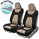 Motor Trend OS274 NeoFoam 3-Layer Waterpoof Sideless Universal Covers for Car Auto (Sedan Trucks SUV Minivans) Easy Install 2 Front Seats (Creamy Beige) ()