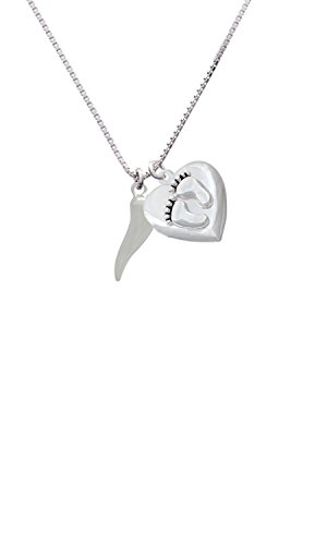 Good Luck Italian Horn Custom Engraved Baby Feet Heart Locket Necklace ()