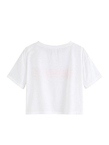 Romwe Womens Casual Short Sleeve Cute Letter Slogan Print Crop Tee Top
