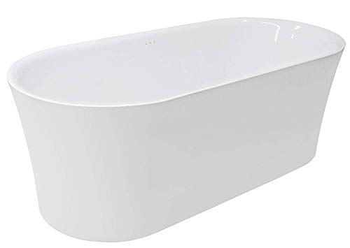 ANZZI Jericho Acrylic Air Jetted Touch Control Freestanding Bathtub in White | Deep Soaking Bubble Massage Jets Whirlpool Jacuzzi Oval Tub with Multi Chromatherapy Colored Lights | ()