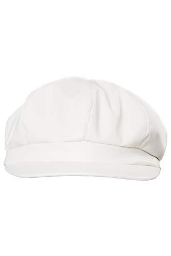 "Dark Paradise Unisex Vintage PU Leather Octagonal Newsboy Caps Artist Berets Hat 57-61cm/22.4-24"" (White)"