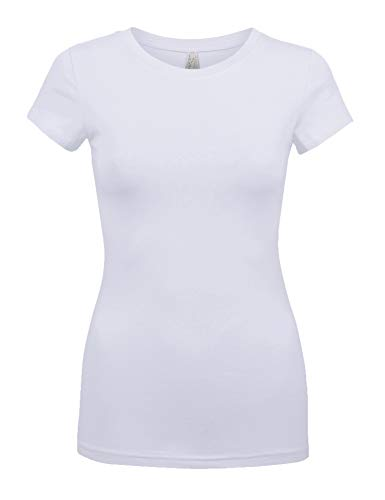 Womens Basic White Colors Slim Fit Round Neck Top (1000-WHITE-S)