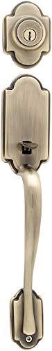 Brass Dummy Lockset - Kwikset 802AN LIP 5 Arlington Inactive Handleset, Exterior, Antique Brass