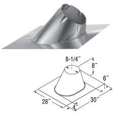 "4"" PelletVent Pro 0/12 - 6/12 Adjustable Roof Flashing - 4PVP-F6"