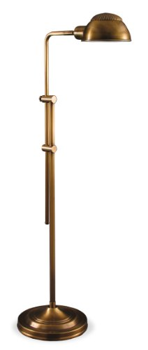 F-6575 Antique Brass Pharmacy with Parabolic Tent Floor Lamp (Antique Brass Pharmacy Desk Lamp)
