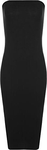 long black fitted strapless dress - 5