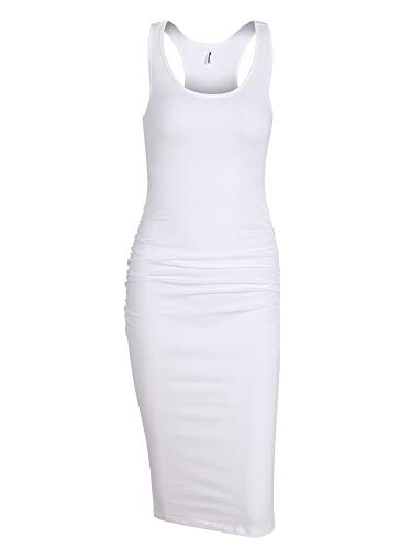 Missufe Women's Sleeveless Racerback Tank Ruched Bodycon Sundress Midi Fitted Casual Dress (Cream White-01, X-Large)]()