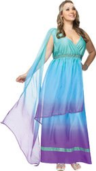 FunWorld Plus-Size Sea Queen, Aqua/Purple, 16W-24W Costume (Roman Empire Costume)