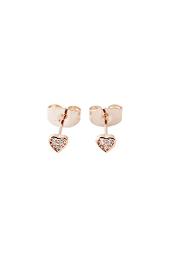 HONEYCAT Crystal Heart Studs in 18k Rose Gold Plate | Minimalist, Delicate Jewelry (RG)