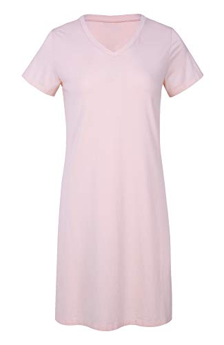 (LazyCozy Women's Bamboo Cotton Nightgown Short Sleeve Nightshirt,Pink, Small)