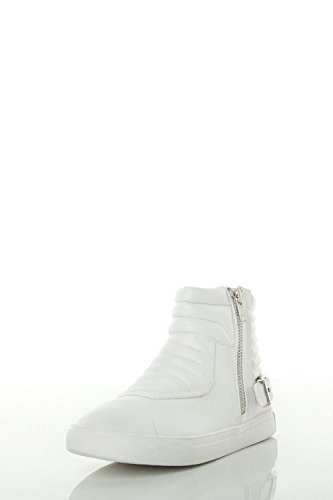 Forever Women's Cushion Buckle Detail Ankle Zip-Up Sneaker 8.5 White