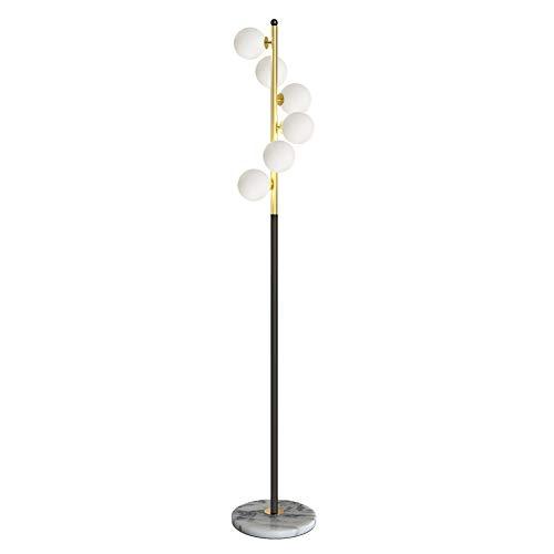 Hsyile Lighting KU300205 White Glass Shade and Marble Base Elegant Modern Creative Floor Lamp for Living Room,Bedroom,Office,6 Lights