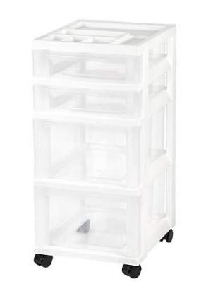 Honey Can Do Rolling Storage Cart with Fabric Drawer, White Bundle with IRIS 4-Drawer Storage Cart with Organizer Top, White by Honey Can Do + IRIS USA (Image #3)