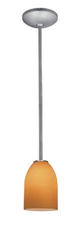 Bordeaux Glass Pendant - 1-Light Pendant - Rods - Oil Rubbed Bronze Finish - Wicker Amber Glass Shade (Wicker Shade Finish)