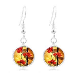 1set Red Poppies Art Tibet Silver Dome Photo 16MM Glass Cabochon Long Earrings