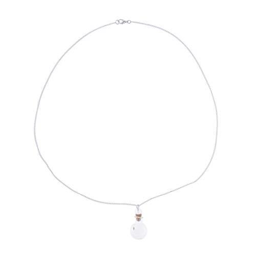 SM SunniMix Mini Glass Aromatherapy Pendant Locket Essential Oil Diffuser Necklace - 09