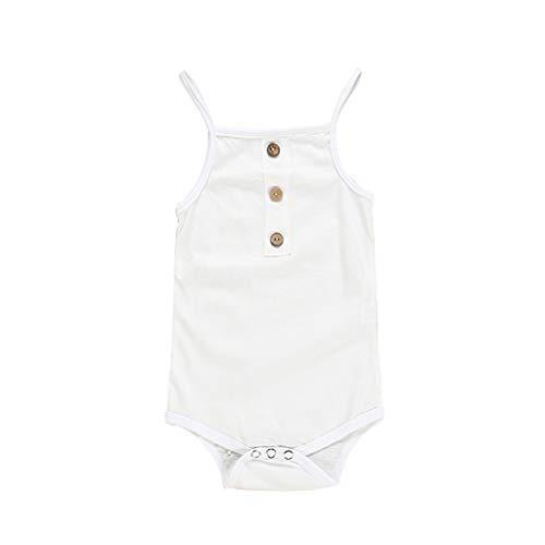 Newborn Baby Girls Boys Rompers Jumpsuit Birthday Christening Bathing Pajamas Sleepwear Solid Strap Bodysuit Clothes (White, 12-18 Months)