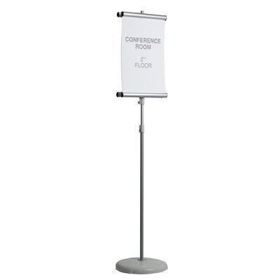 MasterVision Adjustable Clip Double Sided Sign Floor Stand, Gray (SIG03030303) by MasterVision