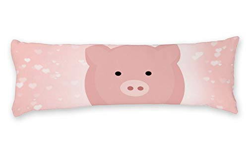 AILOVYO Luck Pink Pig Long Body Pillow Case Cover Silky Shiny Satin Body Pillow Cover Custom Material 20