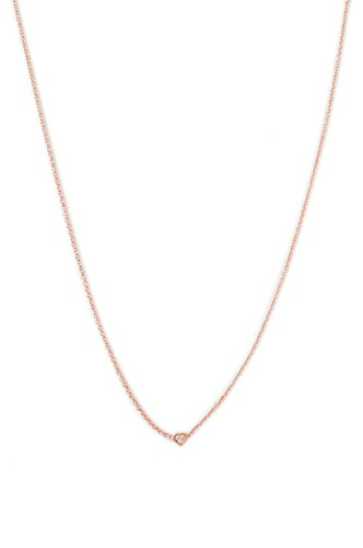HONEYCAT Crystal Micro Pave Mini Heart Necklace in 18k Rose Gold Plate | Minimalist, Delicate Jewelry (Rose Gold) ()