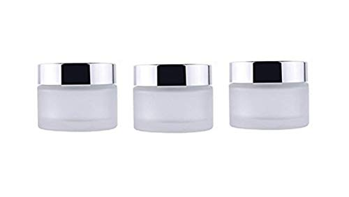 3PCS 50ml/1.7oz Empty Refill Portable Upscale Frosted Glass Cosmetic Jar Pot Container with Silver Lid and Inner Pad Travel Makeup Sample Packing Holder Essential Oil Cream Lotion Lip Balm Jars