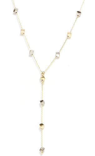 Seven Seas Pearls 14k Gold - Cube Lariat Y Necklace Adjustable Chain Tri Color Yellow White and Rose Italy ()