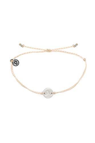 - Pura Vida Silver Wave Coin Bracelet w/Plated Charm - Adjustable Band, 100% Waterproof - Vanilla