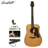 Sawtooth ST-ADN-D-KIT-1 Acoustic Guitar with Black Pickguard with Custom Graphic-Includes Picks and Online Lesson