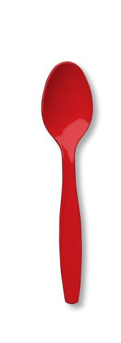 Creative Converting 50-Count Touch of Color Premium Plastic Spoons, Classic ()