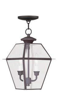 2 Light Southern Pendant - Livex Lighting 2285-07 Westover 2-Light Outdoor Hanging Lantern, Bronze
