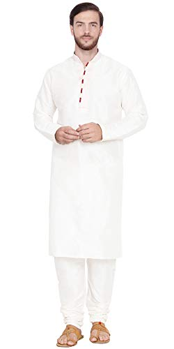 SKAVIJ Men's Art Silk Kurta Pajama Indian Traditional Dress (X-Large, White)