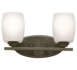 "Kichler Lighting Eileen Olde Bronze 2 Arm Bathroom Wall Sconce w/ 2 Light 13W - Product Dimensions:9.25"" (H) x 14.25"" (W) Finish:Olde Bronze Material:Steel - bathroom-lights, bathroom-fixtures-hardware, bathroom - 21guDjhdZRL -"