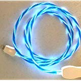 New Tech Junkies CANDY FLOW MOVING EL LIGHT-UP flow led USB data charger cable for iPhone X 8 7 6 5s (Blue) (Moving Light Phone Charger)