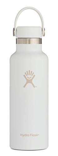 Hydro Flask Skyline Series 18 oz Water Bottle | Stainless Steel & Vacuum Insulated | Standard Mouth with Leak Proof Flex Cap | White