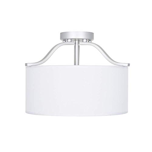 Ravenna Home Classic Fabric Semi-Flushmount Ceiling Pendant Light Fixture With 3 LED Light Bulbs - 15 x 15 x 11.5 Inches, Silver And White