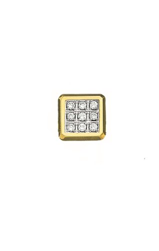 14K Yellow Gold Square Tie Tac With .10 ct. Diamonds-88560 by L&M
