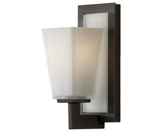 Feiss VS16601-ORB Clayton Glass Wall Sconce Lighting, Bronze, 1-Light (5''W x 11''H) 100watts