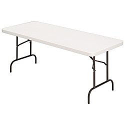 Realspace(R) Molded Plastic Top Folding Table, 5ft. Wide, Platinum by Realspace