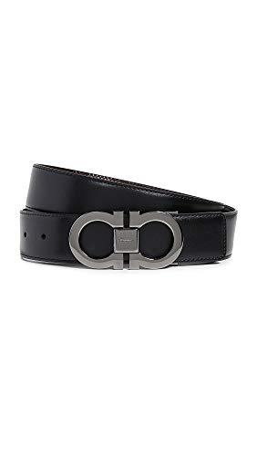 (Salvatore Ferragamo Men's Gancini Buckle Reversible Belt, Nero/Auburn, Black, Brown, 34)